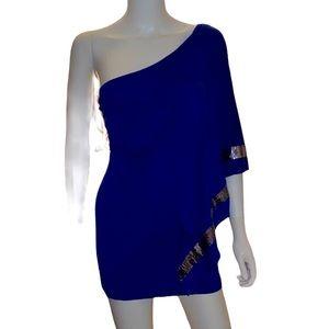 Marciano blue sequin asymmetrical mini dress/tunic